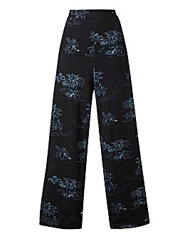 Print Wide Leg Stretch Jersey Trousers