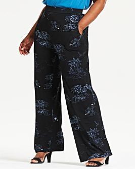 Print Wide Leg Stretch Jersey Trousers