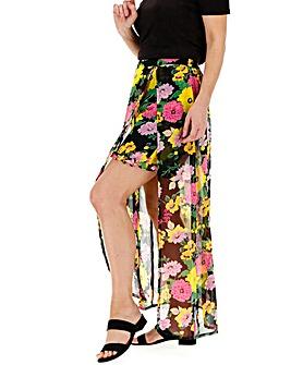 Floral Print Wrap Maxi Skorts