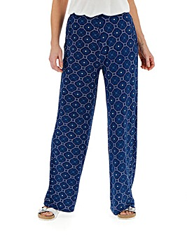 Print Wide Leg Jersey Trousers