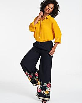 Border Floral Print Superwide Leg Trousers