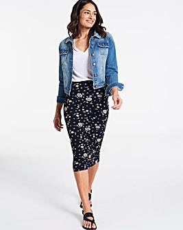 Black Floral Jersey Midi Tube Skirt