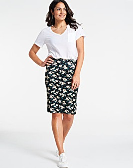 Floral Print Jersey Mini Tube Skirt