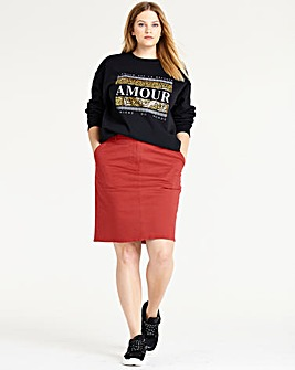 Petite Cotton Rich Chino Skirt