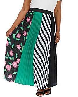 Black & Green Sunray Pleat Maxi Skirt