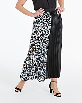 Black & White Sunray Pleat Maxi Skirt