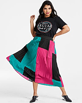 Colour Block Sunray Pleat Maxi Skirt