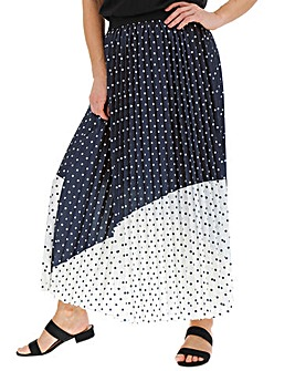 Spot Print Sunray Pleat Maxi Skirt