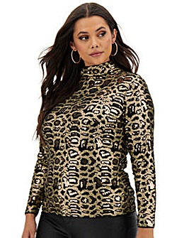 All Over Sequin Animal High Neck Layering Top