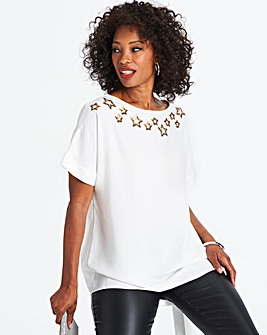 Ivory/Gold Star Embellished Shell Top