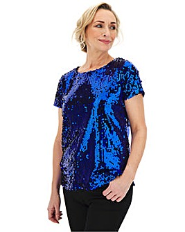 Cobalt Sequin T-Shirt