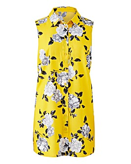 Yellow Floral Sleeveless Viscose Shirt