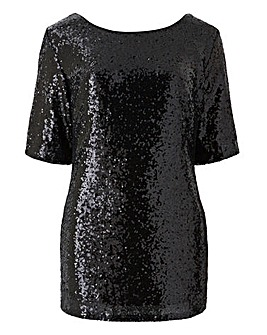 Black All Over Sequin Top
