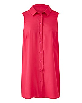 Hot Pink Sleeveless Viscose Shirt