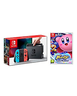 Nintendo Switch Neon Kirby Star Allies