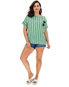 Green Stripe Linen Boxy Top