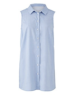 Blue Stripe Sleeveless Viscose Shirt