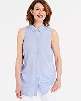 Blue Stripe Sleeveless Viscose Shirt
