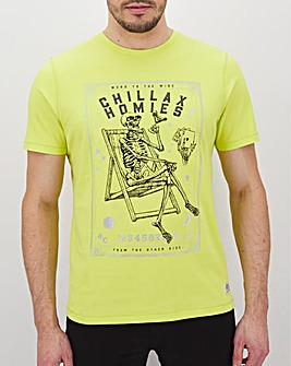 Neon Chillax Print Graphic T-Shirt Long