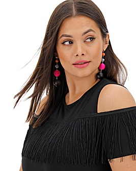 Black Cold Shoulder Fringe T-Shirt