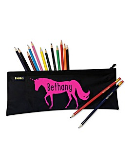 Personalised Flocked Filled Pencil Case
