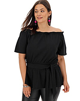 Black Bardot Tie Waist Top