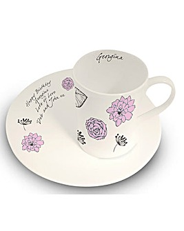 Personalised Floral Mug and Plate Set
