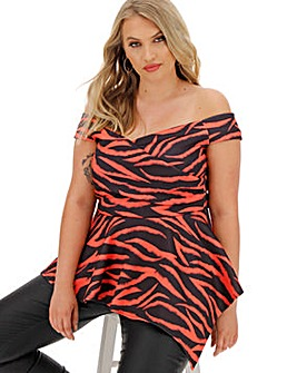 Scuba Wrap Asymmetric Hem Top