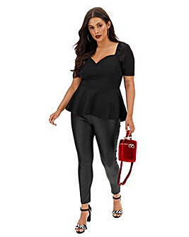 Black Scuba Puff Sleeve Top with Dipped Hem