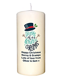 Personalised White Christmas Candle