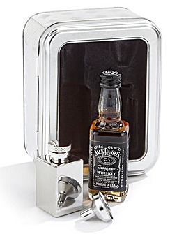 Jack Daniels Whiskey, Hip Flask and Funnel Tin Set