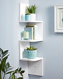 Zig Zag Corner Wall Shelf White