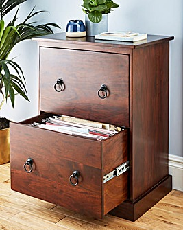 Solid Wood 2 Drawer Filing Cabinet