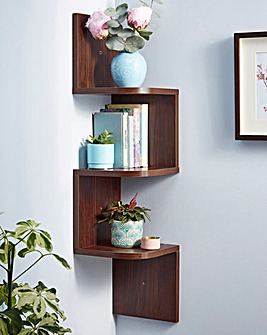 Zig Zag Corner Wall Shelf Wood