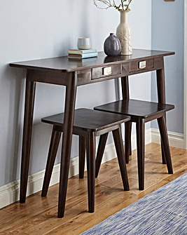 Solid Wood Space Saving Storage Table with Side Tables