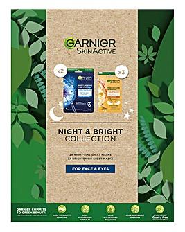 Garnier Night and Bright Sheet Mask Set For Face & Eyes