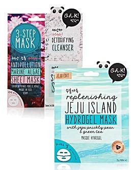 Oh K! 3 Step Anti-Pollution & Jeju Island Hydrogel Mask Set