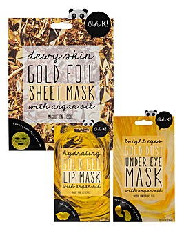 Oh K! Gold Dust Under Eye Mask, Gold Foil Sheet Mask & Gold Gel Lip Mask Set