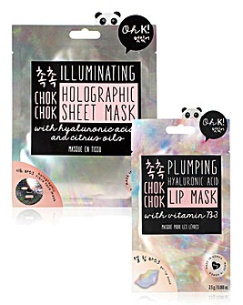 Oh K! Chok Chok Plumping Lip Mask & Holographic Sheet Mask Set