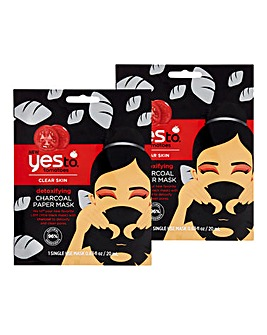 Yes To Tomatoes Detoxifying Charcoal Paper Mask Single Use - Set Of Two