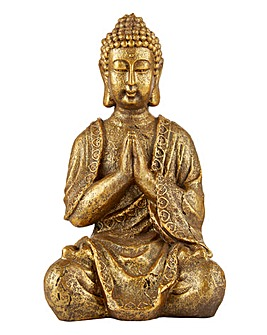 Praying Buddha in Antique Gold