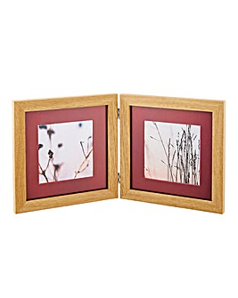 Double Picture Frame in Light Oak 4 x 4""