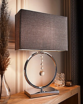 Round Table Lamp with Crystal