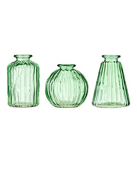 Set of 3 Green Mini Vases