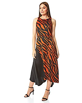 Roman Animal Contrast Satin Midi Dress