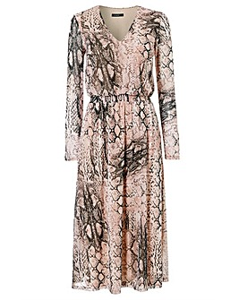 Roman Snake Print Mesh Midi Dress