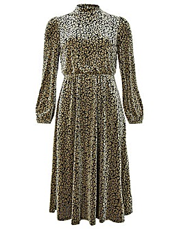Monsoon Kylie Leopard Velvet Dress