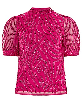 Monsoon Gemma Sequin Short Sleeve Top