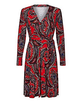 Yumi Curves Paisley Print Wrap Dress