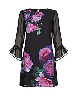 Yumi Curves Rose Print Tunic Dress